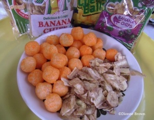 Banana chips and cheese balls. These chips aren't Chippies or St. Mary's, but lesser known brands like Ramo, San San and Little Giants, all made in St. Mary.