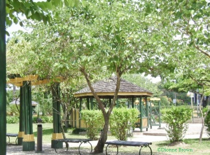 I'll save a bench for you in Turtle River Park, Ocho Rios. It's a nice, breezy place to sit when it's hot. And it's free!